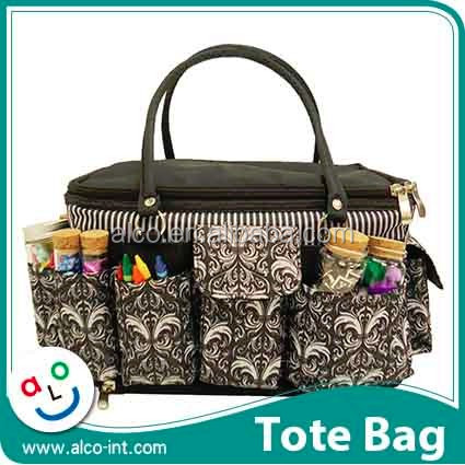 Polyester Cosmetic and craft canvas bag with pockets
