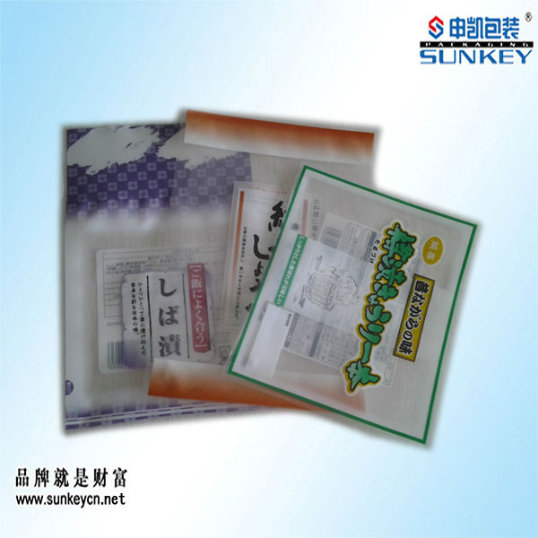 printed vacuum bag with window Japanese fast food plastic bag
