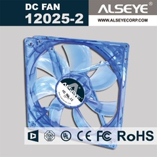 Alseye manufacture 12025-2 axial fan 12v 24v 48v mini usb rechargable blue led cooling fan