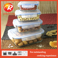 Rectangular Pyrex Takeaway Airtight Glass Plastic Food Container/Food Storage with Lid