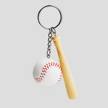hot sale small manufacturing ideas 3d PU baseball stick key chain