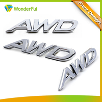 New Product Car Body Sticker Type Golssy Sliver AWD Letter Boot Emblem Rear Name Chrome Car Logo