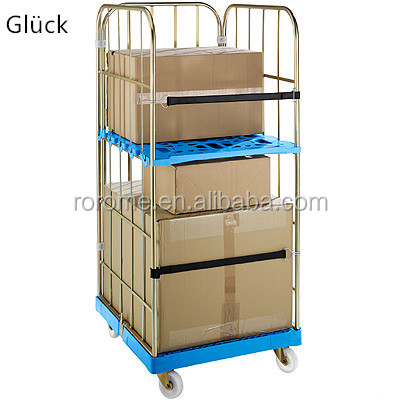 handle square plate trolley security wire mesh roll cage trolley new