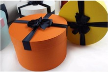 Orange color ribbon decorative luxury round flower packaging box