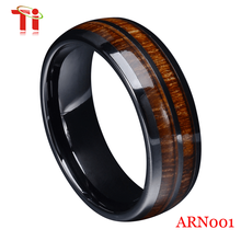 2015 fashion tungsten wood ring with different colors surface ,wedding ring for lover
