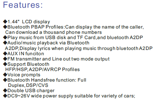 Car bluetooth with caller name, song name and singer's name display and phone book