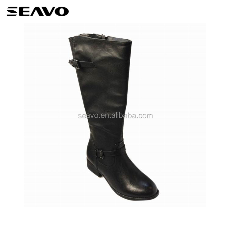 SEAVO AW18 cool black knee style cheap pu upper ladies leather dress boots