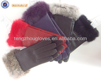 2014 new collection Genuine lamb skin leather gloves sheep nappa fashion dress glove for ladies with rabbit fur