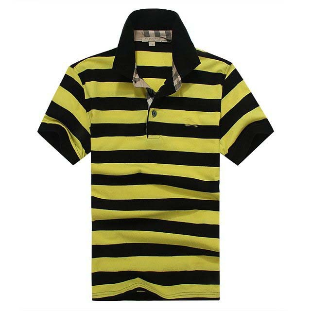 mens polo collar striped t shirt black and yellow striped