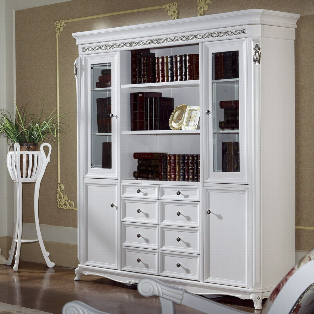 Luxury White French Style Wooden Bookcases