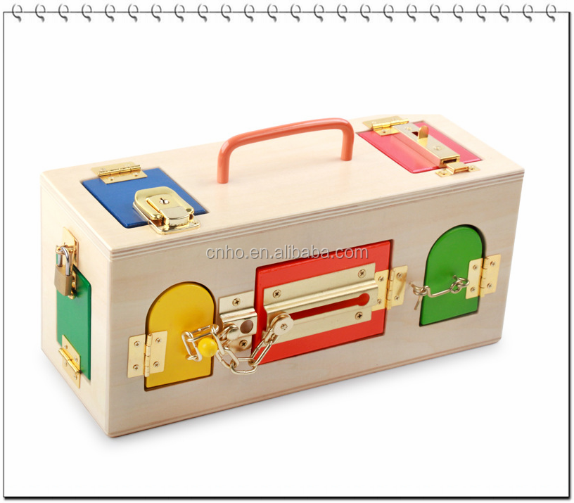 children toys educational toy box with lock wooden toys educational