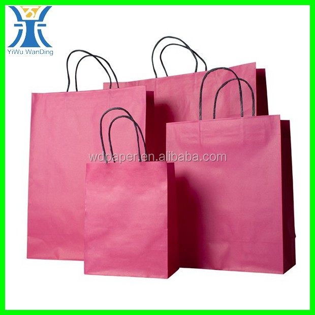Yiwu New Arrived plain customized full printing blank unique Pink shopping paper bag
