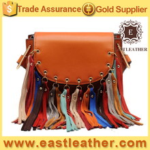 GL986 China 2017 new products elegance vintage genuine leather bag tassel handbags