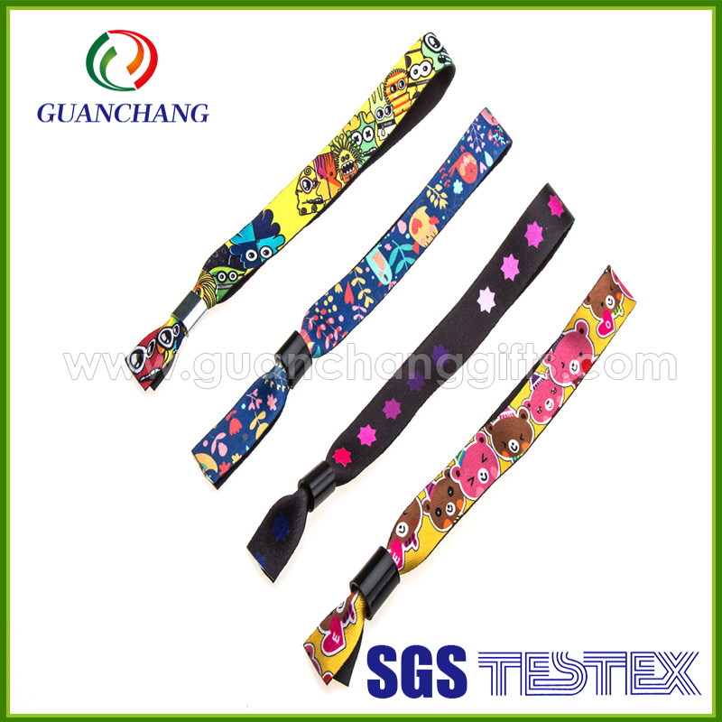 2016 custom polyester free syria glow party terry cloth wristband plastic snap closure with Custom LOGO bulk buy from China