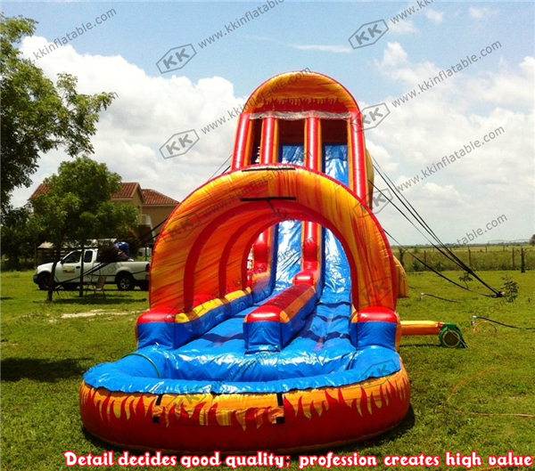 volcano theme giant inflatable water slide for adult with water pool slip slide