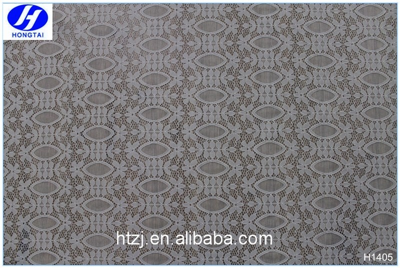 Hongtai new production popular chemical tulle embroidery nylon lace fabric white bridal lace fabric