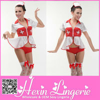New arrived fashion white and red sexy latex nurse costume