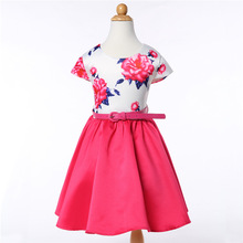 fashion summer party princess flower printed baby formal dress children wear