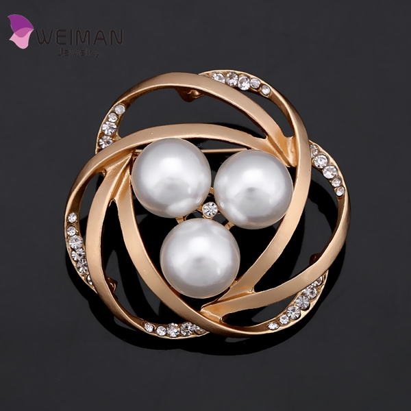 New High Quality Rhinestone Brooches Matte Gold/Silver Rose Flower Fashion Design Fashion Jewelry brooch For Women