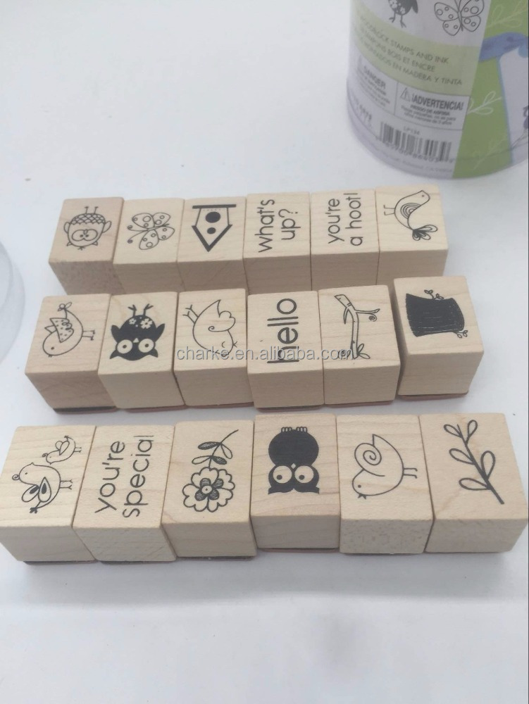 wood rubber stamp cartoon alphabet number