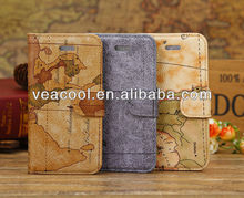 Map Wallet Stand Leather Case Cover For Iphone 5C