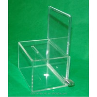 Hight quality products wholesale acrylic dog house shaped donation box with lock/with brochure holder