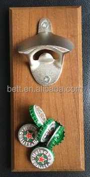 Wooden board metal wall mount bottle opener with Magnetic Cap Catcher