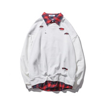 Hot Sale Fake Two Pieces Cotton Plaid Collar French Terry Mens Plain White Sweatshirts with Thumb Hole