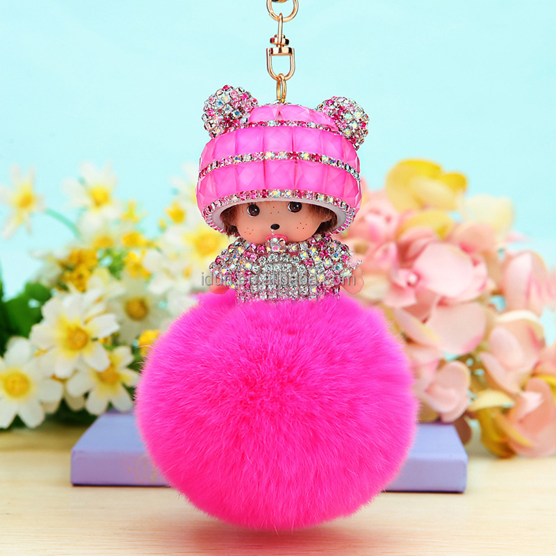 New Arrival Cute Rabbit Faux Fur 8cm Crystal Monchhichi Pompom Ball Keychain 10 Colors Monchichi Key Chain