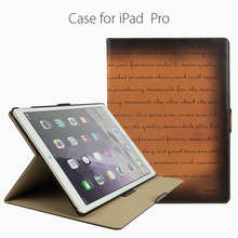 Minandio brand Dark Brown color book case genuine leather wallet case for ipad pro