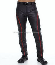 Motorbike Pants black with red line/ Motorcycle Men Genuine Leather Pant