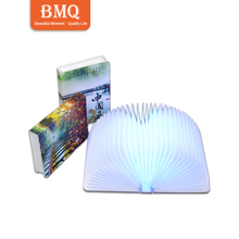 cute gift RGB led light cheap folding book lamp china mini pocket book light for gifts