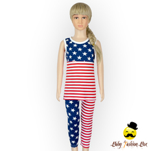66TQZ255 Yihong 4th Of July Blue Star & Stripe Tank Tops With pants Summer Baby Girl Outfits Clothing