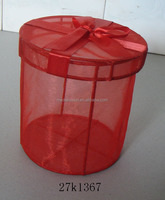red organza storage basket with lid
