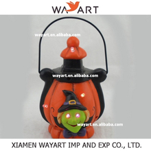 2015 wholesale high quality Resin Pumpkin candle lantern with stand Table Halloween Decoration
