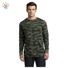 Trendy camouflage men t shirt wholesale design camo long sleeve t shirts olive green blank military shirt