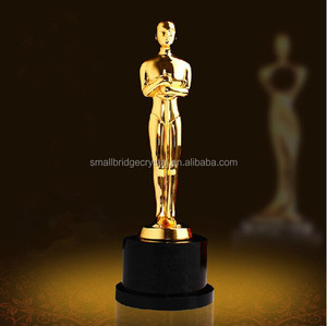 Golden Figurine Metal Oscar Trophy With Crystal Trophy Base