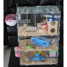 Custom 3 Tier Clear Acrylic Hamster Cage with Accessories