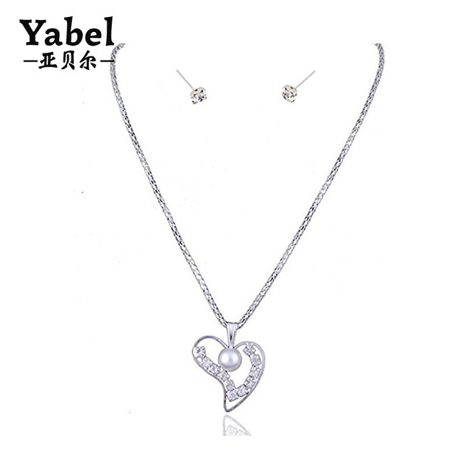 Romantic Style Crystal Love Heart Pendant Necklace Earrings Set With Pearl Valentine's Day Gift