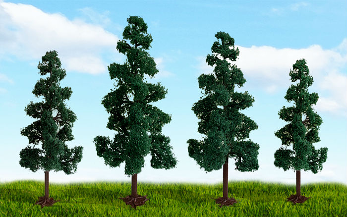 "MP SCENERY - HO SCALE TREES, SCENIC DECIDUOUS TREES - 70863 JUNIPER TREE, 5.5"" to 6"", 3/PK"