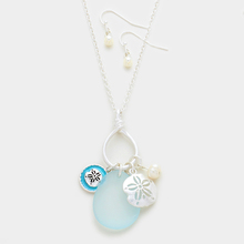 YMN-30595 Sand dollar & pebble charm necklace