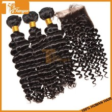 Can dye and bleach 6A human virgin mongolian deep curly more wavy hair weft with one piece invisible part closure