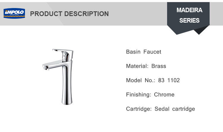 Contemporary Bathroom Basin High Brass Mixer Tap For Vessel Sinks