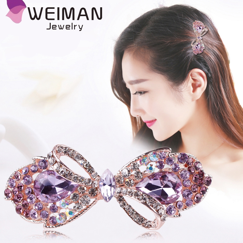 Fashion hair accessories for women,beautiful crystal rhinestone bowknot hair clip in stock