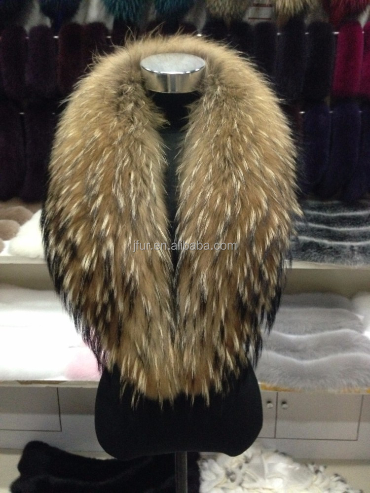 Janefur Factory Supply Lively Long Huge Raccoon Fur Collar Real Raccoon Fur Shawl/Scarf