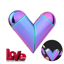Creative Folding Heart Shape Refillable Gas Flame Rechargeable Electronic Usb Cigarette Lighter