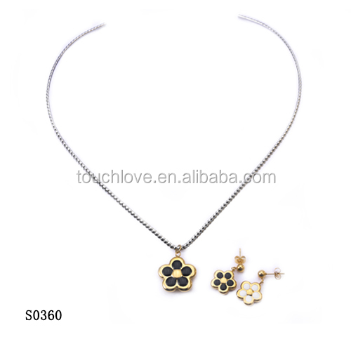 china wholesale women accessories jewelry, 316l stainless steel jewelry sets for woman with flowers