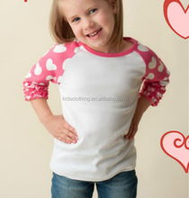 icing ruffle sleeve raglan valentine's day girls t shirt 2018 newest 3/4 sleeve raglan for valentine