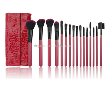 synthetic hair 16 piece cosmetic brushes red color makeup brush set
