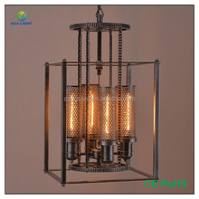 Decorative Vintage Zhongshan Factory Rectangle Wrought Iron Cage Pendant Lights for Restaurant Coffee bar